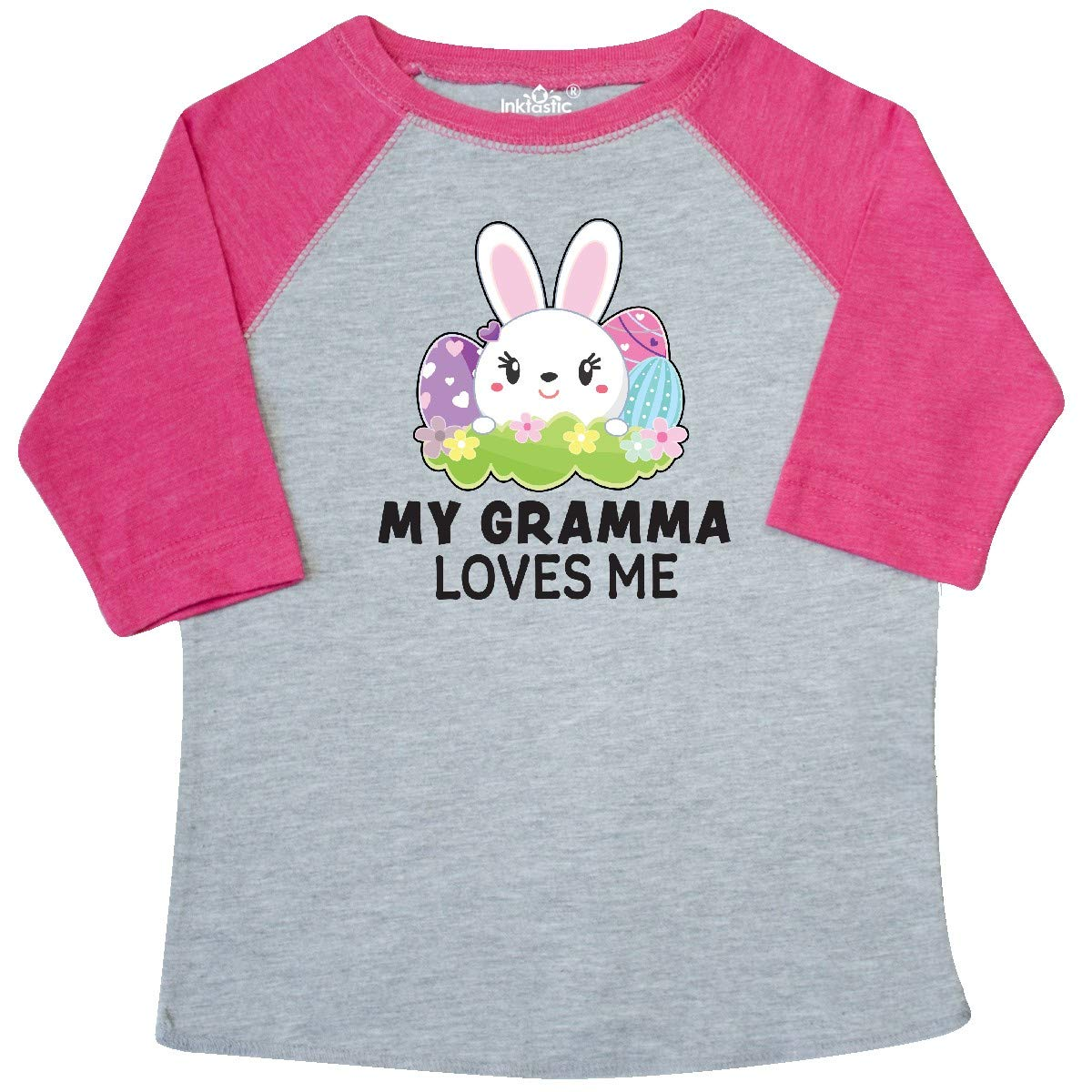 inktastic My Gramma Loves Me with Bunny and Easter Eggs Toddler T-Shirt