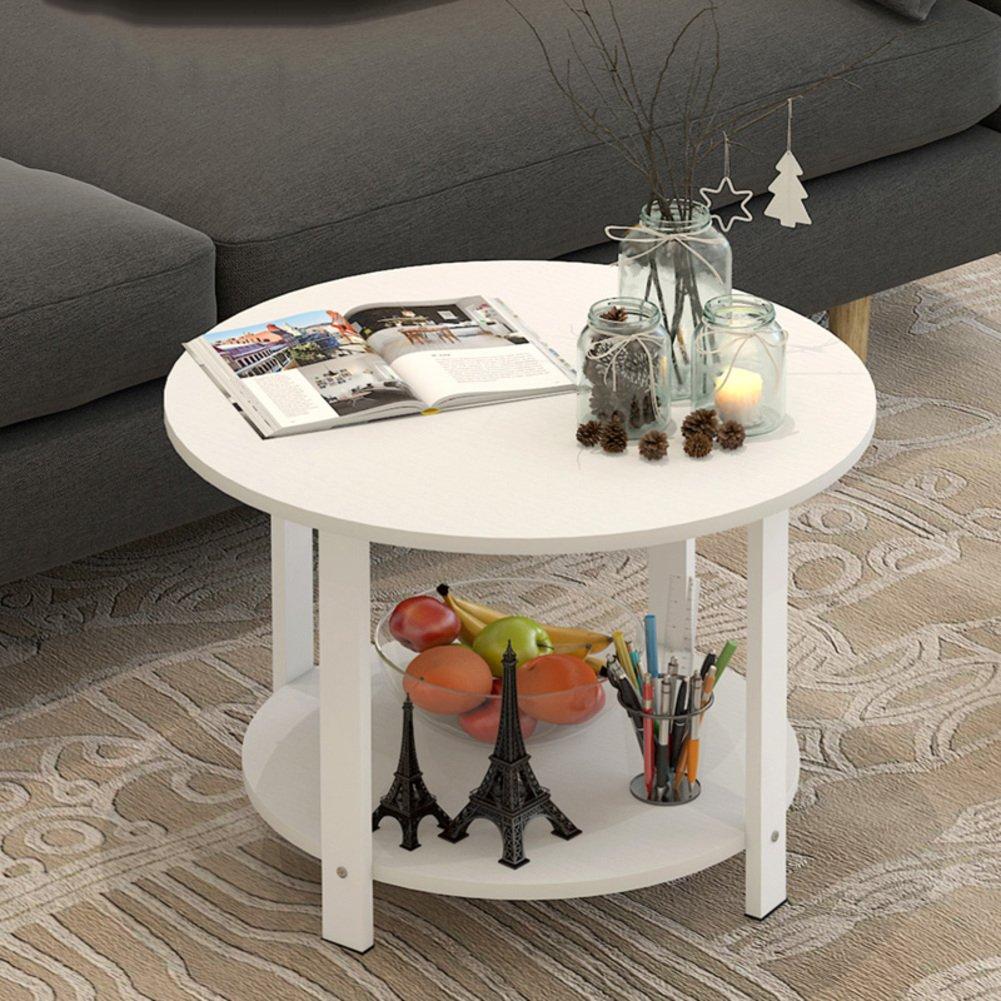 北欧 ラウンド サイドテーブル, 無垢材 コーヒーテーブル 二重層 ソファテーブル 電話テーブル コーヒーテーブル 保管ラック-ホワイト W60xH41cm B07F7X9VTC ホワイト W60xH41cm