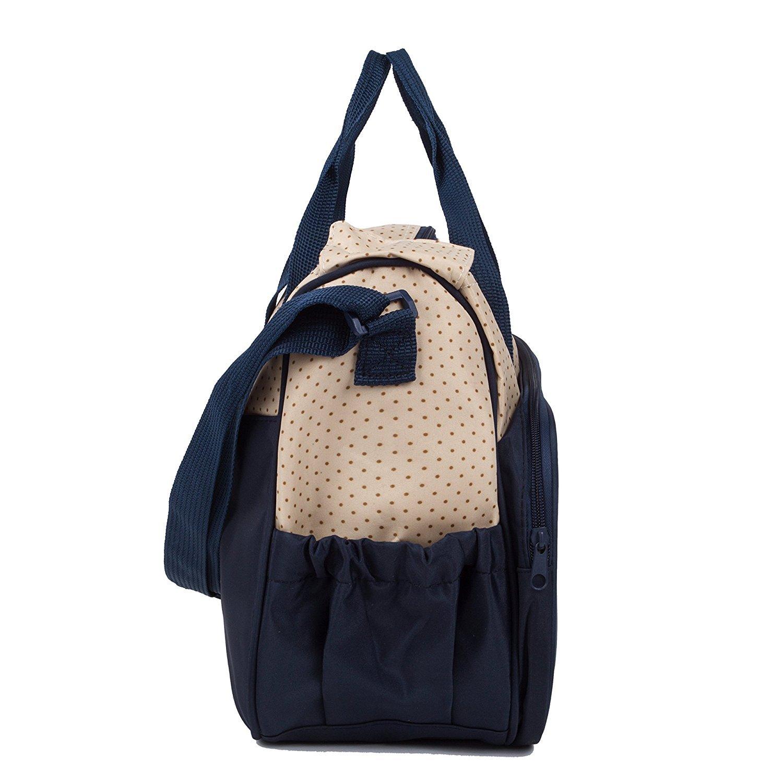 5pcs/set Nappy Baby Diaper Bag Travel Diaper Tote Bag Handbag Diaper Bag for Mummy and Dad (Dark blue)