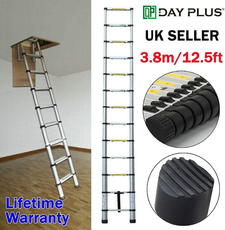 Escalera telescópica extensible de 3,8 m para el hogar, oficina, perno de seguridad: Amazon.es: Bricolaje y herramientas