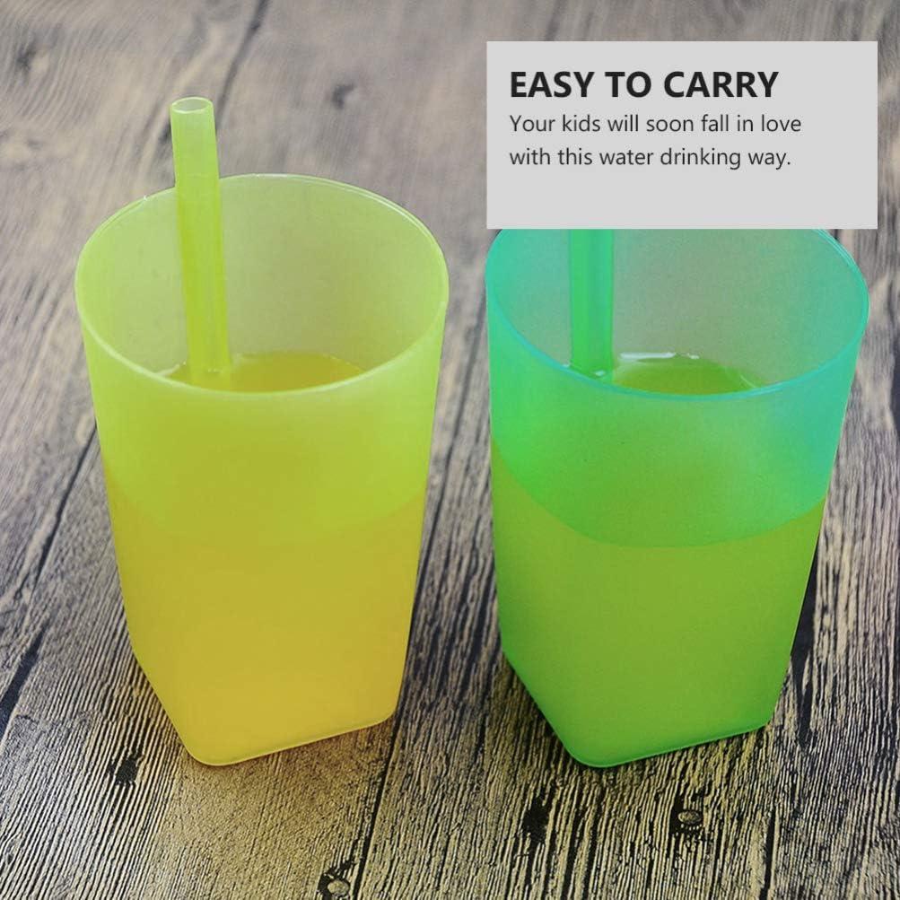 HEALLILY 6Pcs Gobelets Color/és avec Paille Int/égr/ée pour Les Tout-Petits Gobelet en Plastique Empilable avec Paille