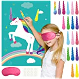 FEPITO Pin The Horn on The Unicorn Birthday Party Game with 24 Horns for Unicorn Party Supplies, Kids Birthday Party Decorati