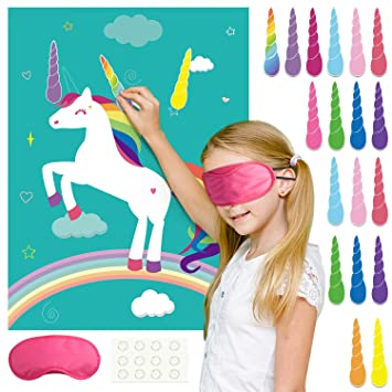 FEPITO Pin The Horn en el Juego de Fiesta de cumpleaños de Unicornio con 24 Cuernos para Suministros de Fiesta de Unicornio, Decoraciones de Fiesta de ...