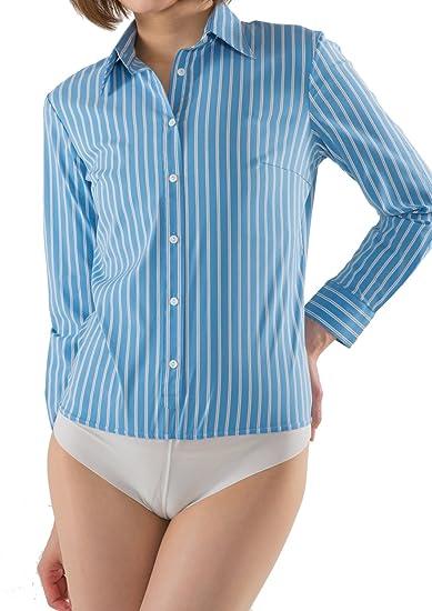 LEONIS Women s Soft Stretch   Easy Care + Undies Bodysuit Shirt Blouse  Stripe Sax blue ( c353f840d