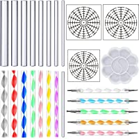 ABCD DaBuLiu 25 Pieces Mandala Dotting Tools for Painting Rocks,16 x Acrylic Rods,5 x Double Sided Dotting Tools,3 x Mandala Stencils and Paint Tray