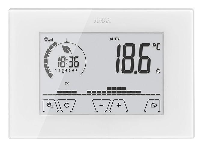Vimar 02907 Termostato Electrónico pantalla táctil Wifi para control Local y Gestión avanzada de la temperatura