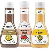 Veeba Vinaigrette Dressing, 320g with Thousand Island Dressing, 300g and Honey Mustard Dressing, 300g