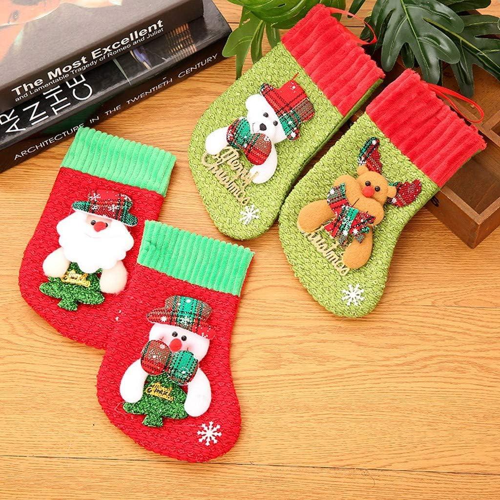 Lenfesh 4er Set Weihnachtsstrumpf Weihnachtsmannsack Nikolaussack Nikolausstiefel zum Bef/üllen Weihnachtsdekoration Weihnachtsgeschenk Socken Candy Bag Party Xmas Tree Hanging Decor 16x12cm