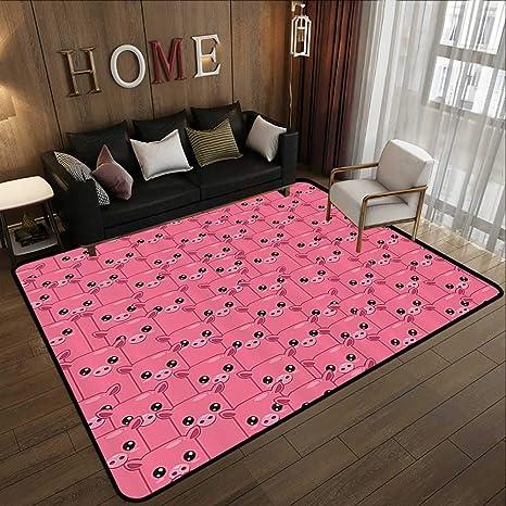 Custom Area Rugs Mat Three Little Pink Pigs For Livingroom Bedroom Non-Slip Mats