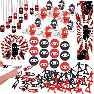 Ninja Samurai Birthday Party Favors for Kids (132 Pieces) - Bulk Ninja Samurai Party Supplies - Keychains, Action Figurines, Bouncy Balls, Bookmarks, Stickers, Dog Tags, Stretchy Flying Ninjas