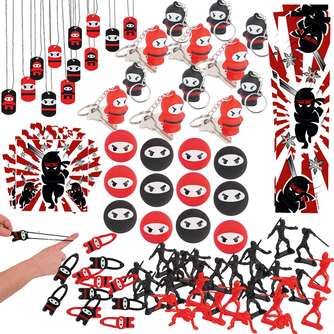 Ninja Samurai Birthday Party Favors For Kids 132 Pieces Bulk Ninja Samurai Party Supplies Keychains Action Figurines Bouncy Balls Bookmarks