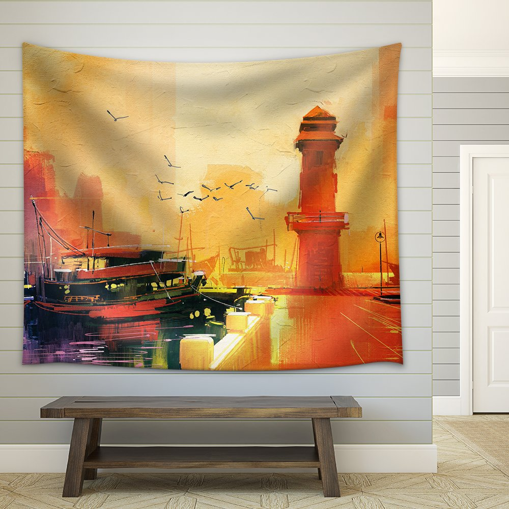 Lighthouse and Fishing Boat at Sunset Oil Painting Style Fabric Wall ...