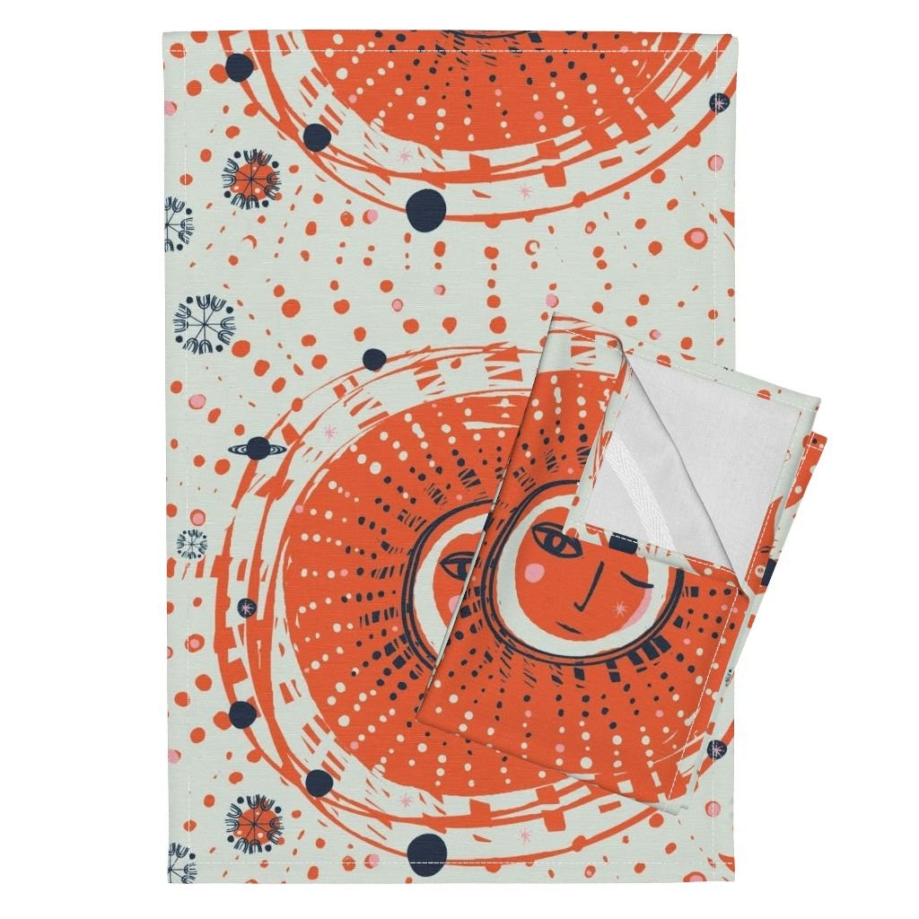 Roostery Sun Blue Moon Solar System Boho Illustration Hand-Drawn Tea Towels Sol - Orange by Fable Design Set of 2 Linen Cotton Tea Towels by Roostery (Image #1)