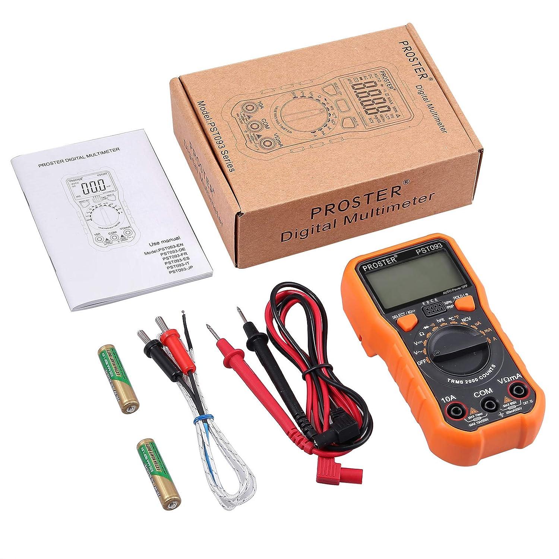 Proster  MS8233D   Digital Multitesteur D/étecteur de Gamme Automatique Compteur de Poche Voltage AC DC Courant DC R/ésistance Diodes Transistor Maintien des Donn/ées .