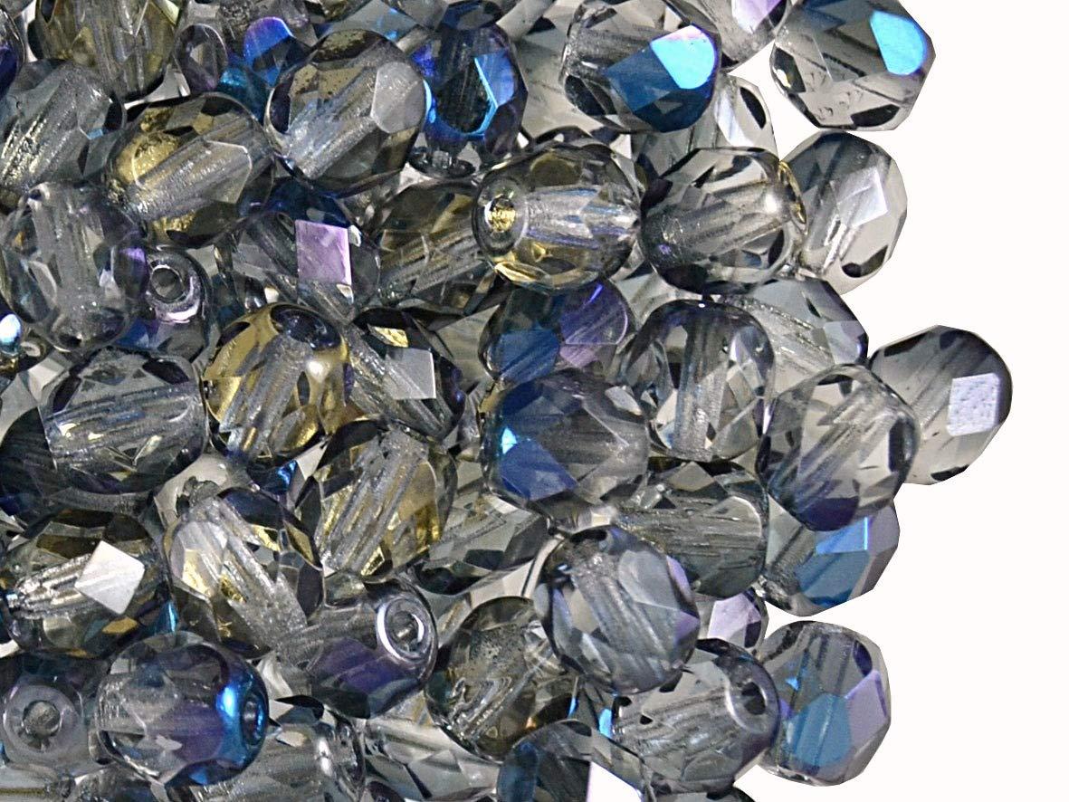 6mm Fire-Polished Crystal Blue Flare 8mm Un total de 275 piezas Cuentas de vidrio facetado checo 4mm redondas 3mm Set 1CFP 013 3FP069 4FP098 6FP070 8FP070