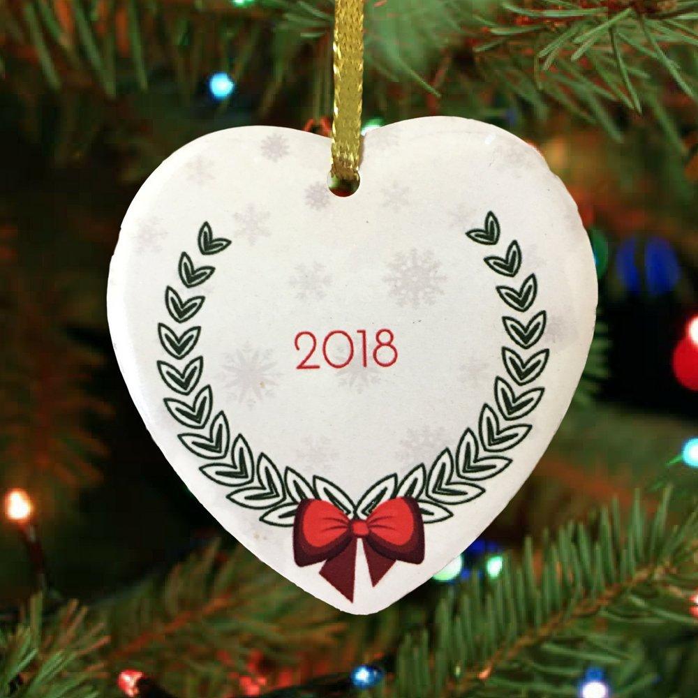 Amazon.com: Baby\'s First Christmas - 2018 Xmas Ornament - Heart ...