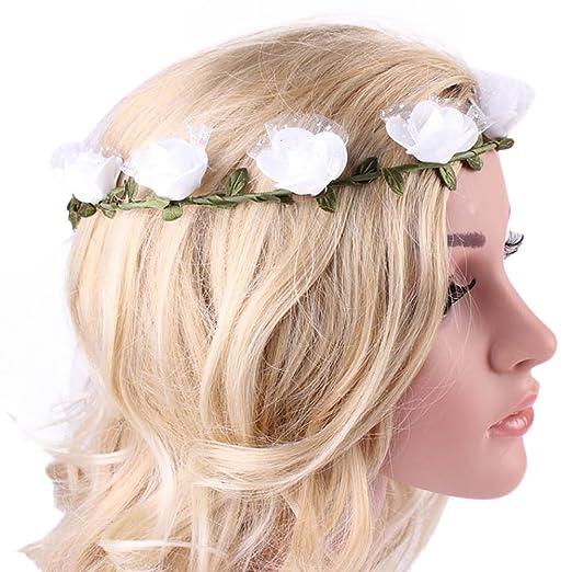 Amazon.com  ACTLATI Women Floral Flower Wreath Boho Bridesmaid Hair ... dbdc7ed3265