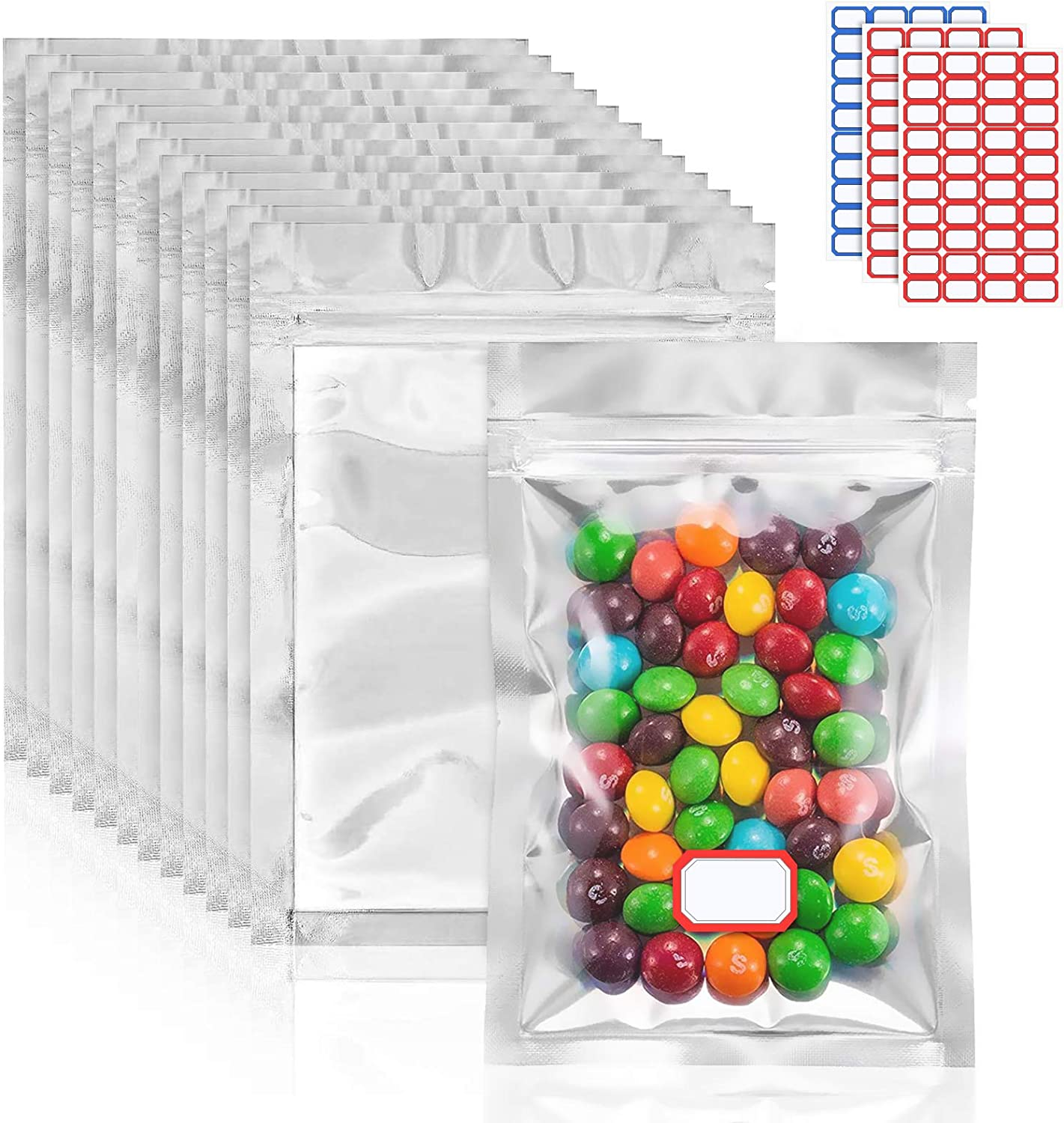 100 Pieces Mylar Bag for Food Storage, Resealable Foil Ziplock Bags with 120 Label Stickers, Smell Proof Bags Packaging Bags for Self Sealing Storage Supplies(4.72in×7.87in)