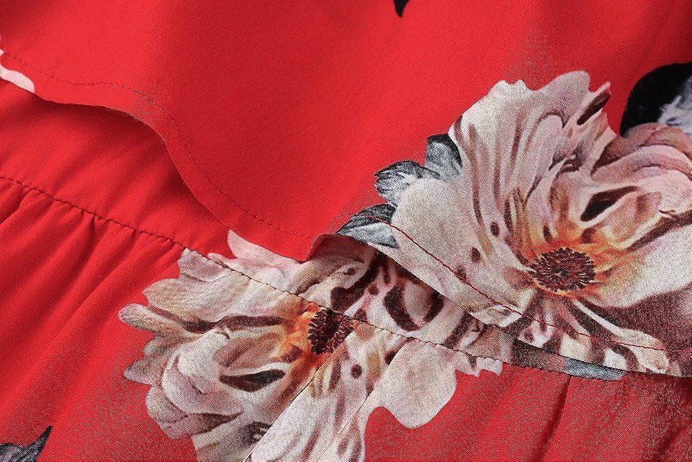 4fae1da1165 Yobecho Women Summer Off Shoulder Strapless Floral Print Pleated Dresses