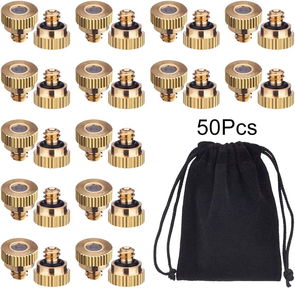 Uspacific 50 Pieces Brass Misting Nozzle, Low Pressure Cooling Mist Nozzle with Velvet Bag for Greenhouse Landscaping Dust Control and Outdoor Cooling System