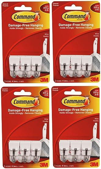 Haken klein 4 x 3 M Command Drahthaken 3 4 kleine Streifen: Amazon ...