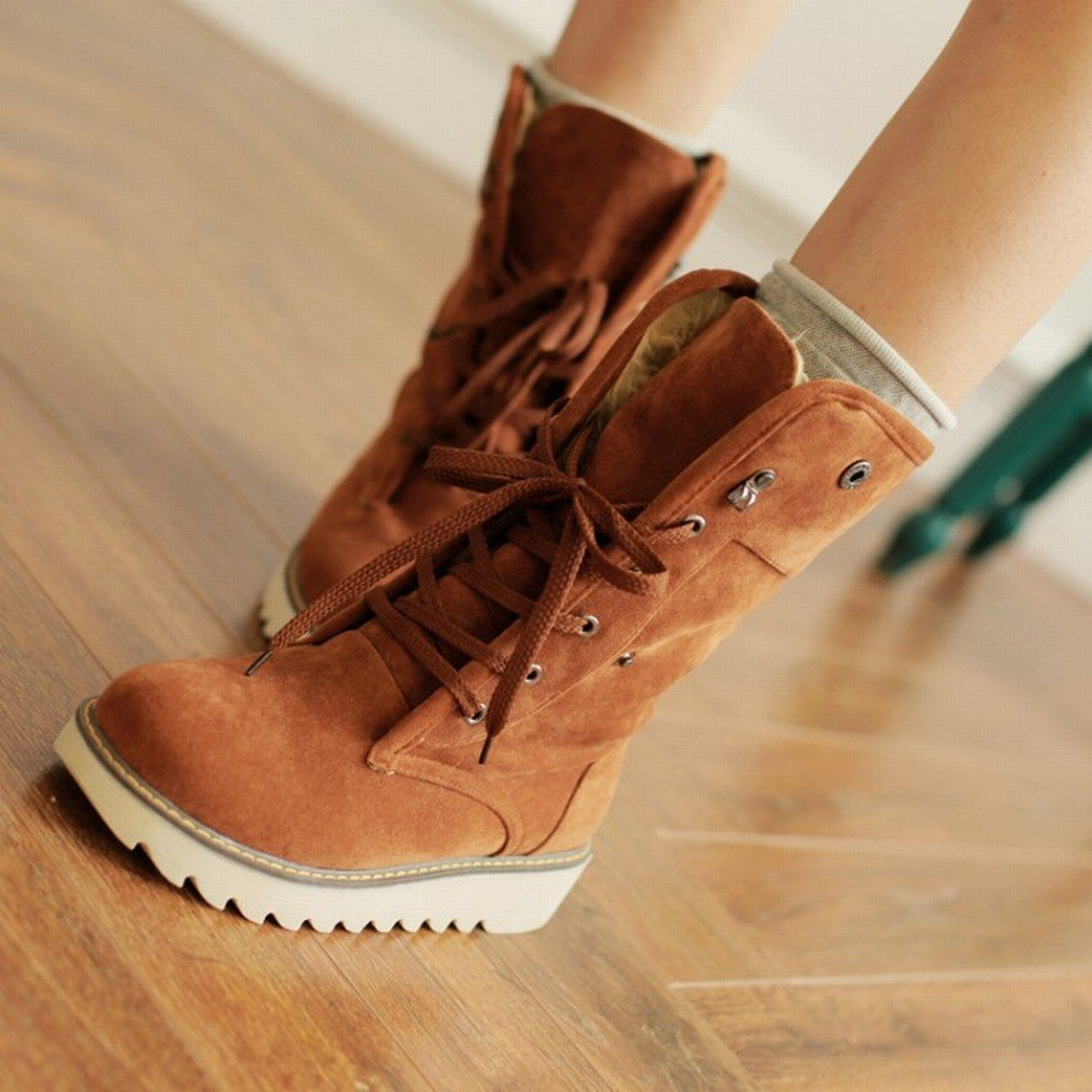 ANI Botas de Mujer Botas de Felpa de Cuero de Tacón Bajo Botas de Nieve Zapatos de Mujer de Gran Tamaño,Café café,36 36