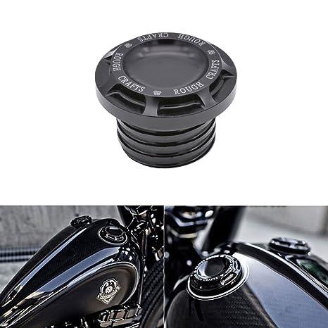 KaTur Motocicleta Negro CNC Rough Manualidades Aluminio Combustible Gas Aceite Cap para Harley Sportster XL 1200