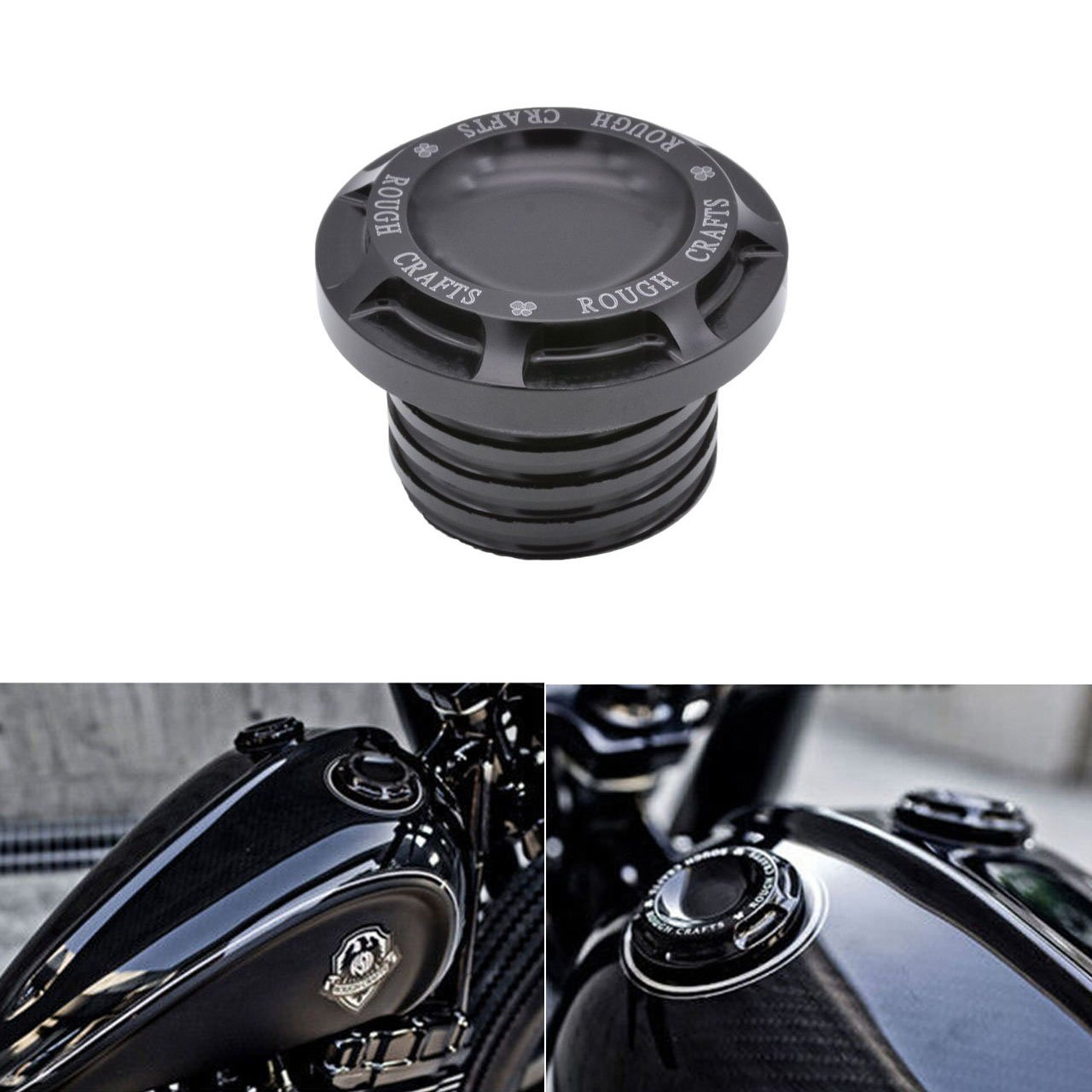KaTur Motorcycle Black CNC Rough Crafts Aluminum Fuel Gas Oil Cap For Harley Sportster XL 1200 883 1996-2014