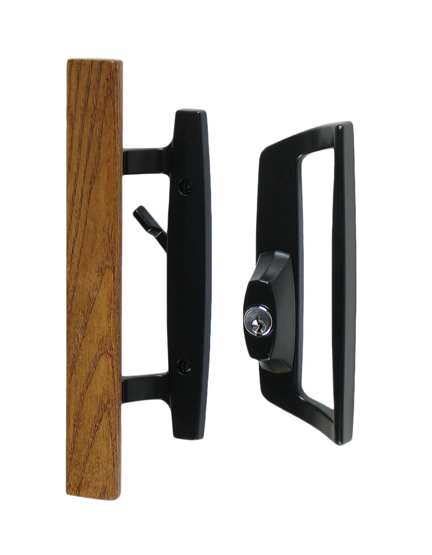 Bali Nai Sliding Glass Door Handle And Mortise Lock Set With Oak