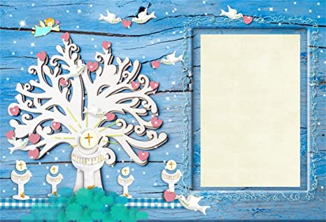 Laeacco 10x8ft Baby Baptism Invitation Card Backdrop Vinyl The First Holy Communion Chalices Under Big Tree Birds Blue Sky Photoframe On Rustic Wooden
