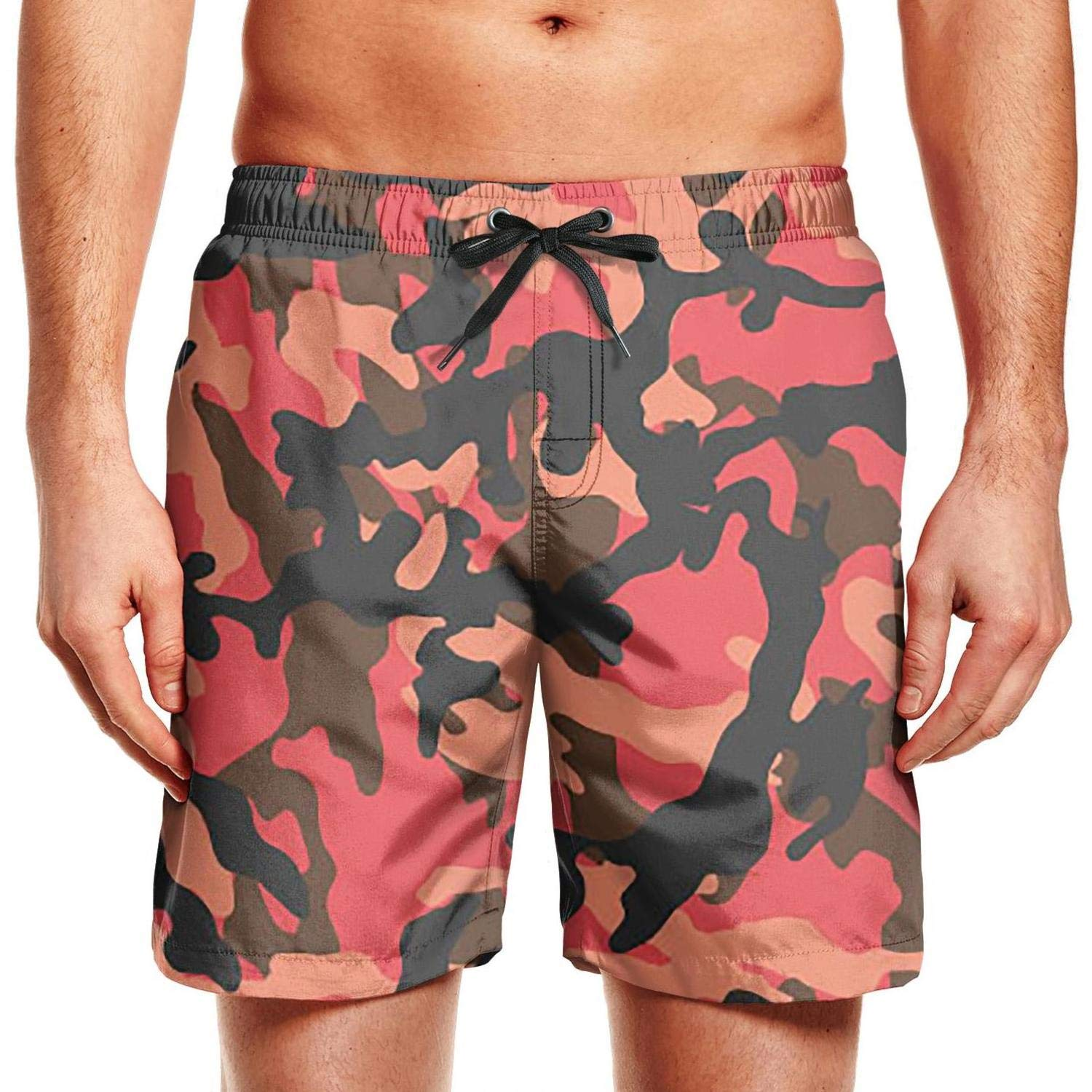 ZYLIN Mens Swim Trunks Printed Camouflage Camo Army Boardshorts Slim Fit with Mesh Lining