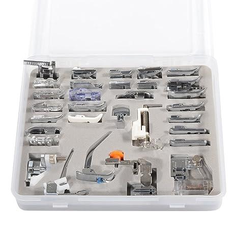 Set de 32 piezas de pies prensores para máquinas de coser profesionales (Brother, Babylock