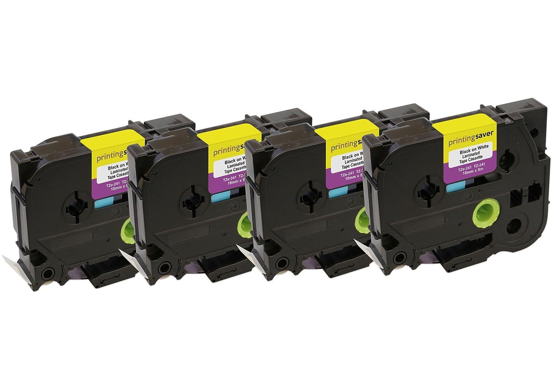 4X TZe241 TZe 241 Noir sur Blanc 18 mm x 8 m Rubans /Étiquettes compatibles avec Brother P-Touch PT-2030VP 2430PC 3600 9600 D400 D450VP D600VP E300VP E550WVP H300 H500 H500LI P700 P750W Etiqueteuses