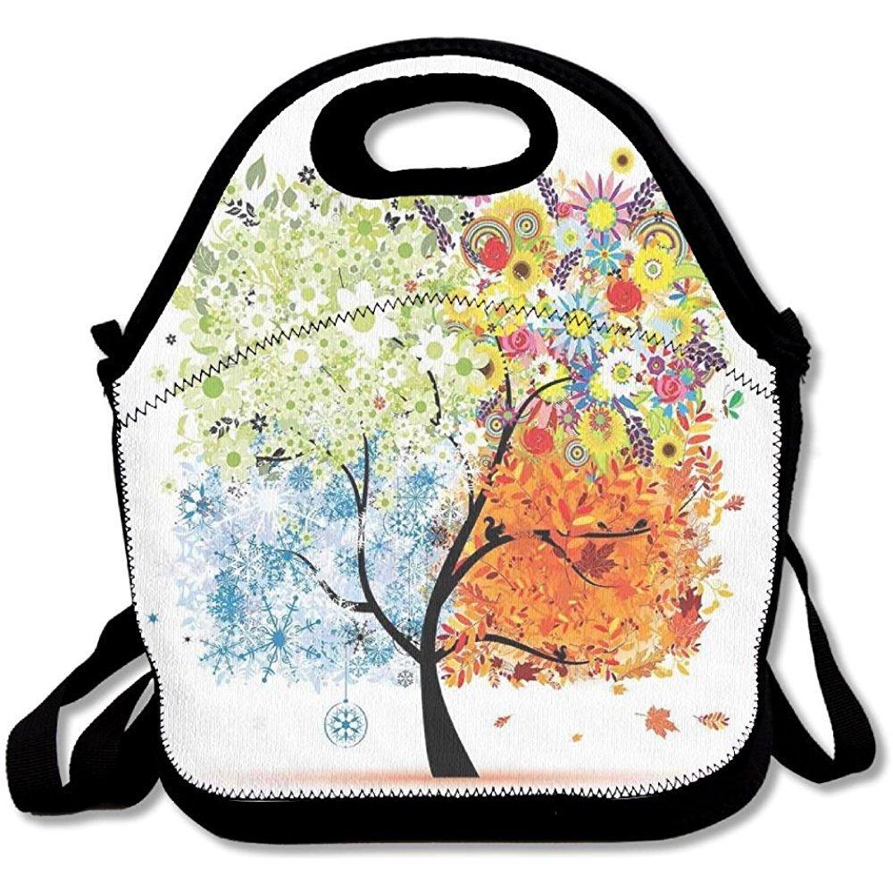 staropor Season Tree Branches with花春夏秋冬テーマアートワークランチバッグトートバッグ学校用作業アウトドア   B07DH6S1W7