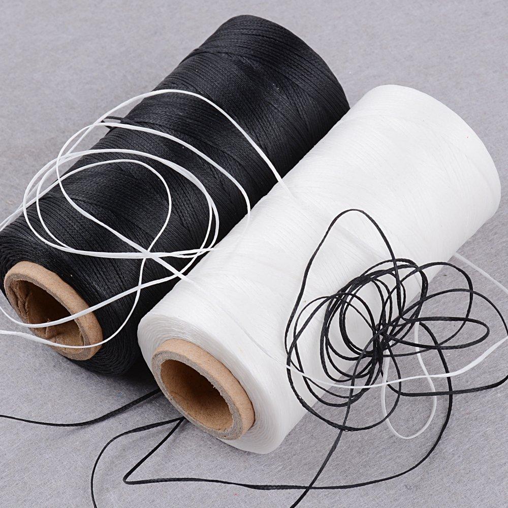 BETESSIN 2 Rollos Cordón Encerado 150D/16 (0.8mm) 260m Cuerda Encerada Color Negro y Blanco para Manualidades DIY Pulseras Abalorios Collares Monedero ...