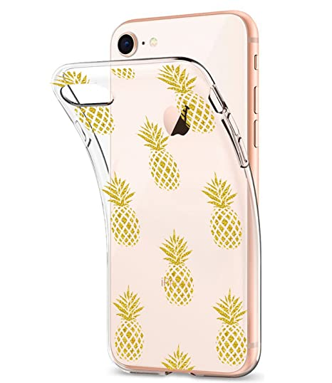 549982a981 iPhone 7 Case, iPhone 8 Case Clear With Design Glitter Gold Pineapple  JDBRUIAN TPU Soft