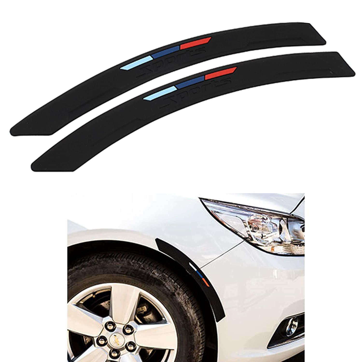 COSMOSS Car Front Rear Bumper Protector Corner Guard Rubber Strips Side Bumper Protection Guard Automobile Anti-Scratch Corner Pad Fit Most Car SUV Pickup Truck (Black, 40-cm Straight)
