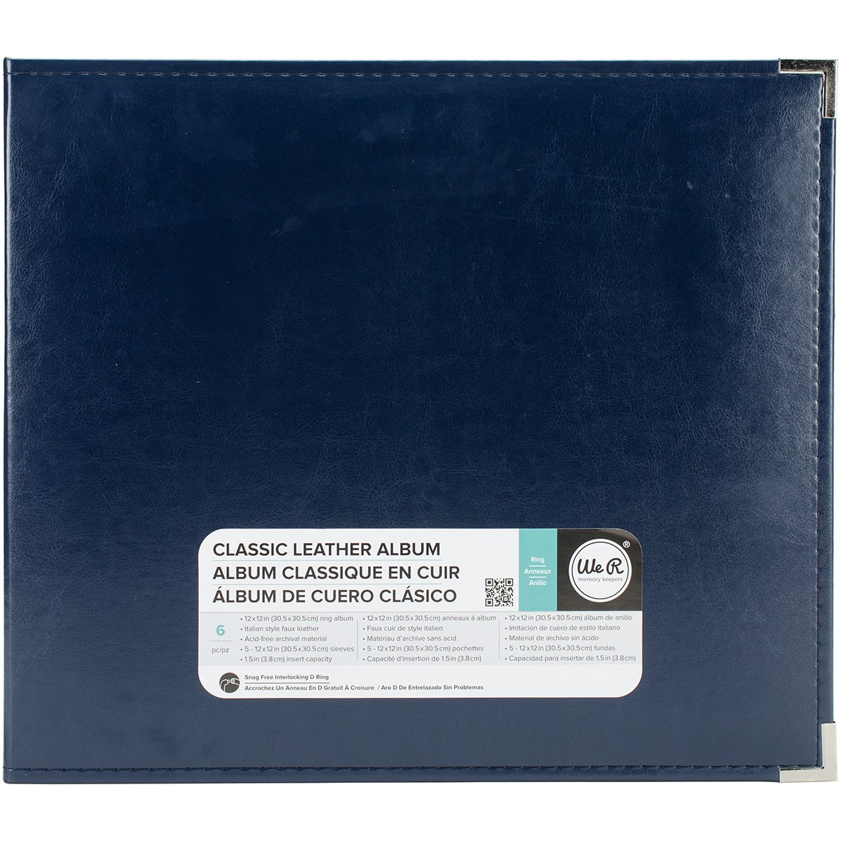 American Crafts 12 x 12-inch Classic Leather 3-Ring Album by We R Memory Keepers | Navy, Includes 5 Page Protectors