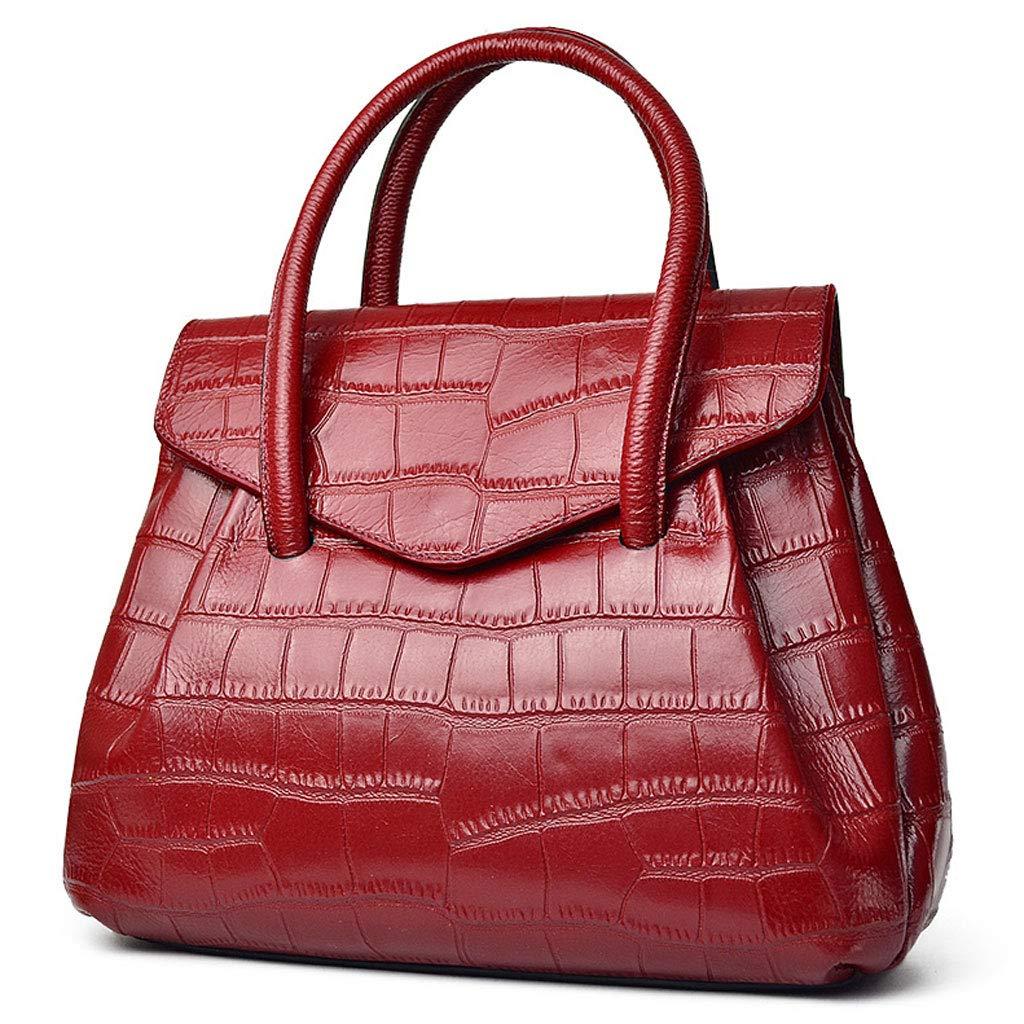 NJ ハンドバッグ- 新しいレザーレディースバッグファッションハンドバッグ30x12x27cm (色 : Red, サイズ さいず : 30x12x27cm) B07K459JLT Red 30x12x27cm