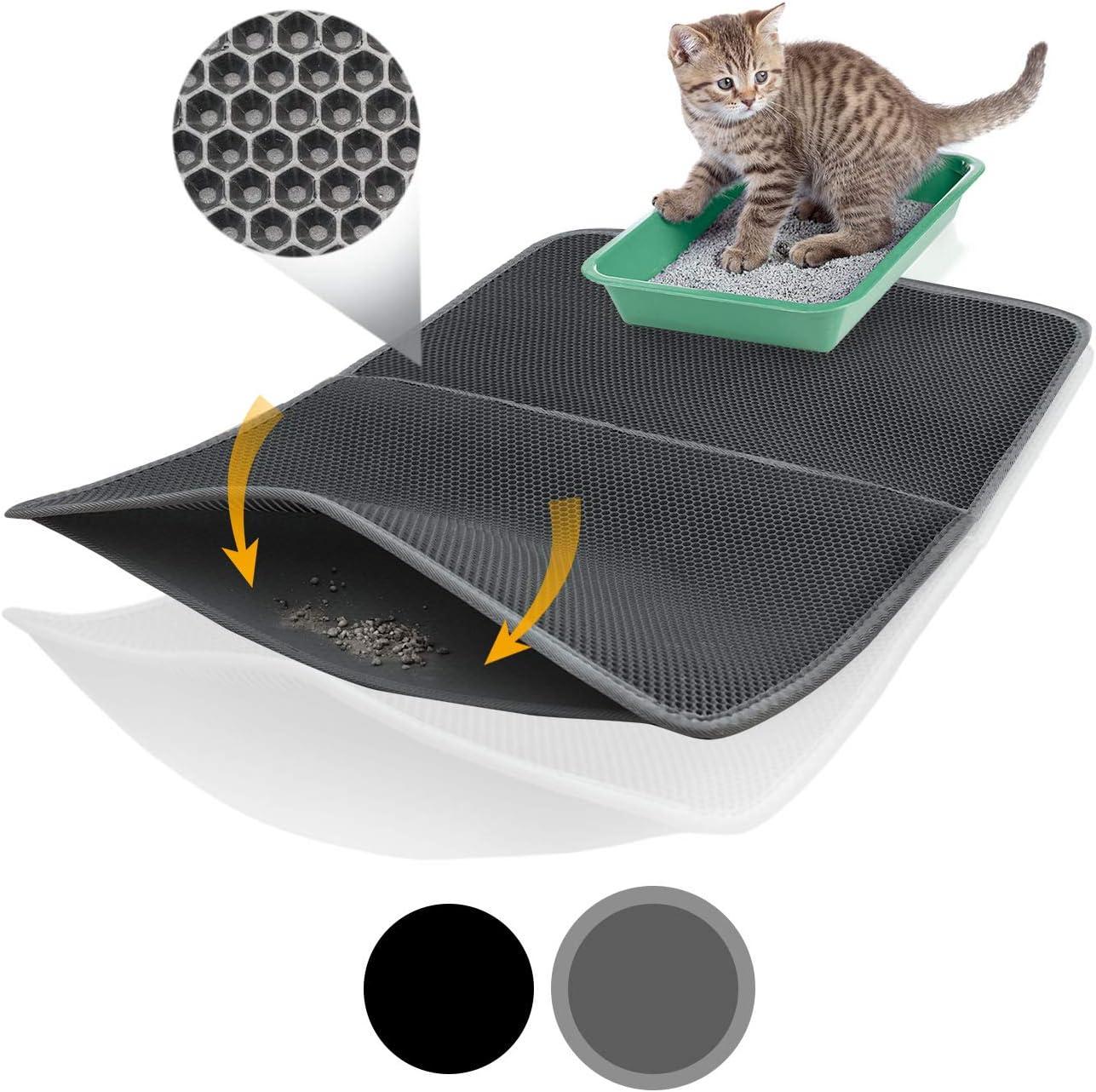 Bella & Balu XXL Alfombrilla Gato con diseño Panal - Alfombra Lavable con Fondo higiénico para Gatos - para un apartamento Limpio sin Arena sanitara para Gatos (Azul | 100 x 65