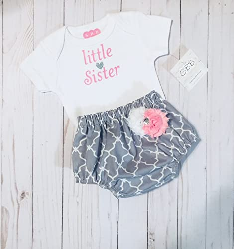 857f1299a2108 Amazon.com: Little sister onesie diaper cover outfit. New baby girl  clothing: Handmade