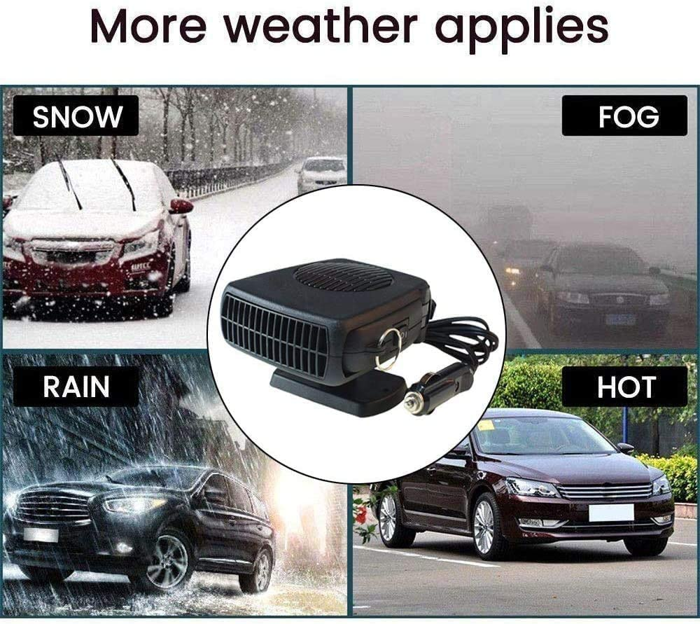 xiaocai Car Heater Fan,Anti-Fog 200W 12V Car Fan Defroster Automobile Heater Warmer and Defroster 2 In 1 Heating Cooling Function Windshield Demister Defroster
