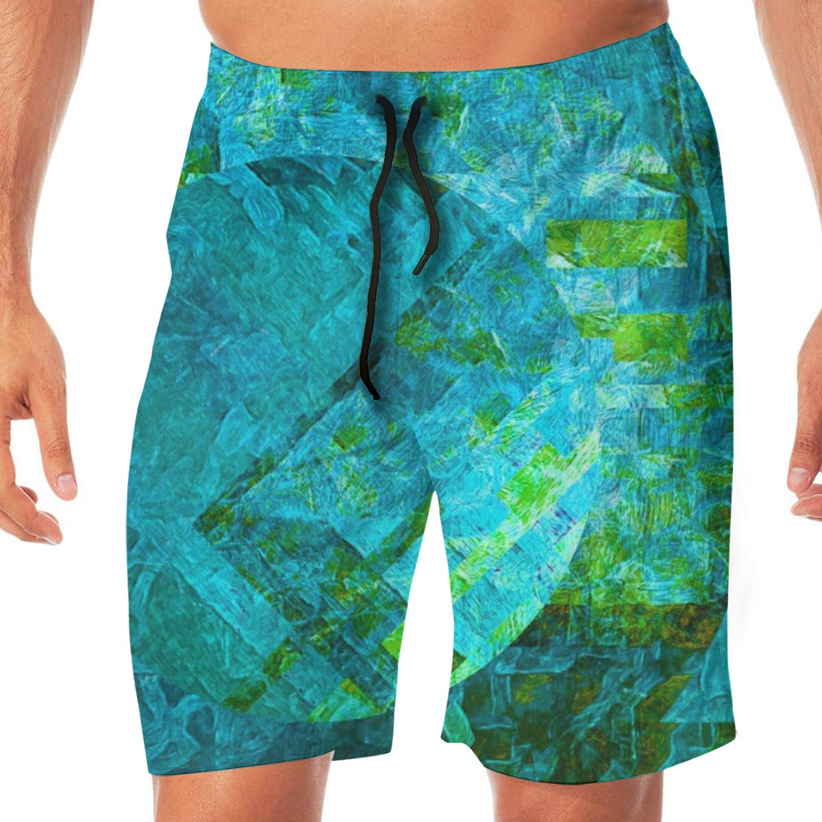 Galaxy Globe Sea Mist Mens Swimming Trousers Quick-Drying Beach Polyester Shorts