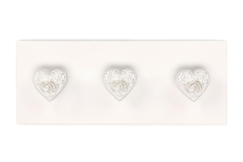 Headbourne HR0209C 3ganci a forma di cuore su parete Fix decorativo barra appendiabiti attaccapanni, bianco antico Select Hardware Ltd HR0209C