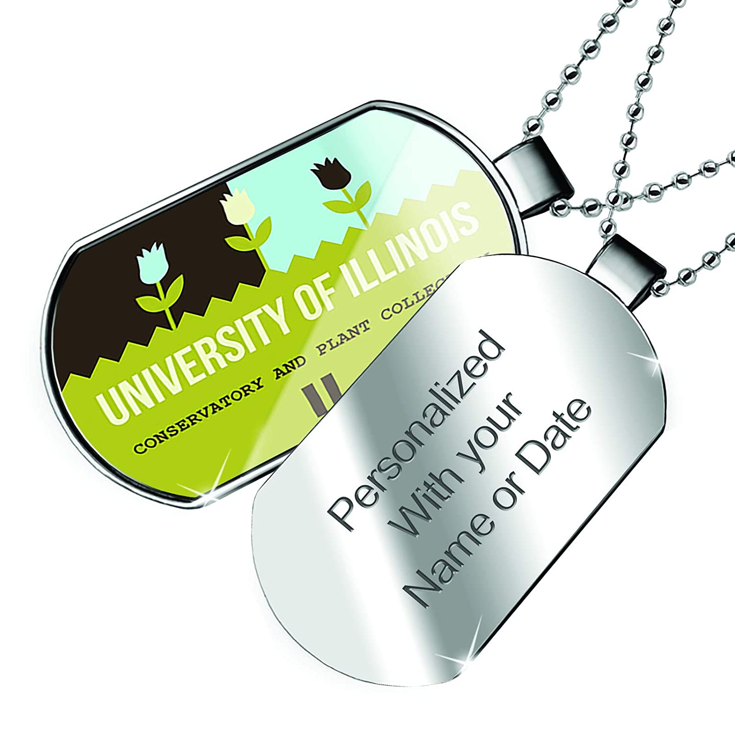 IL Dogtag Necklace NEONBLOND Personalized Name Engraved US Gardens University of Illinois Conservatory and Plant Collection