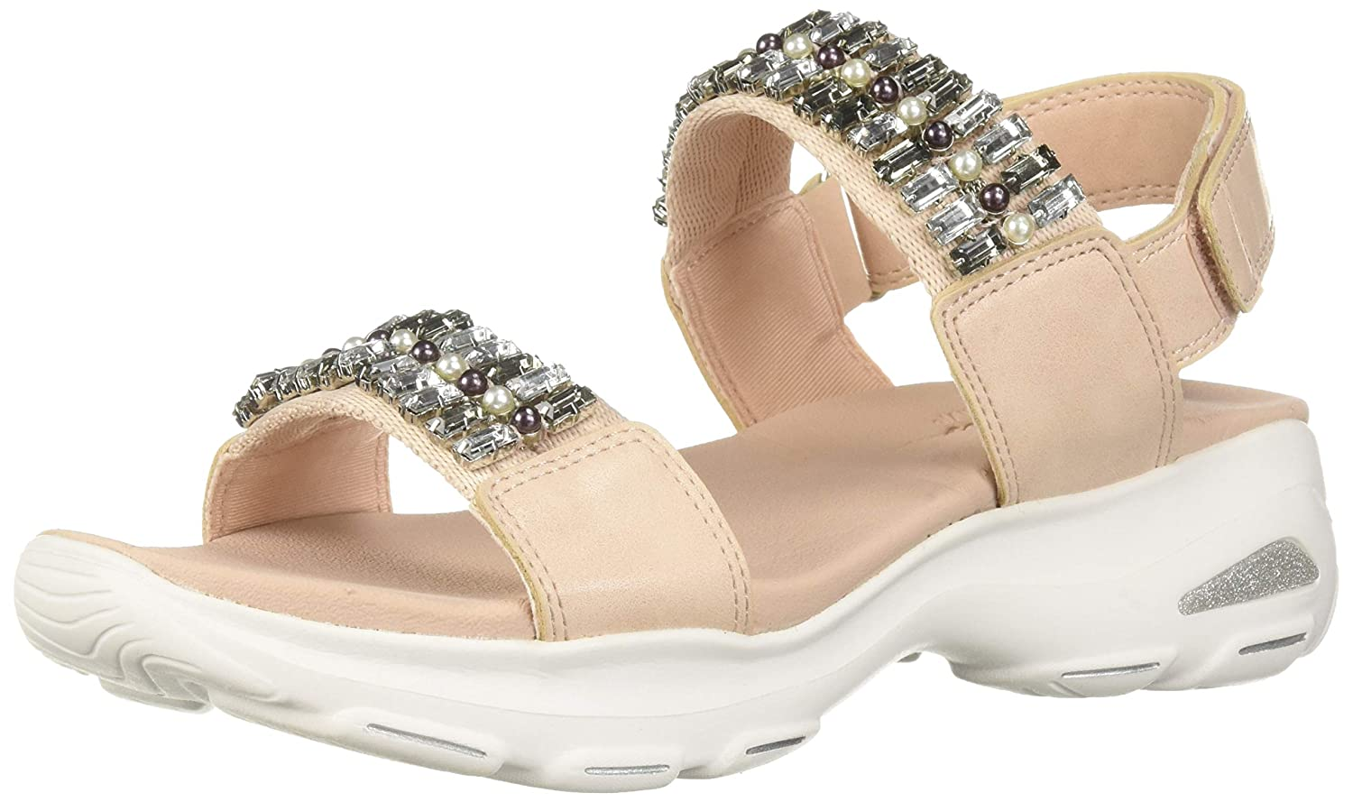 Skechers Womens DLites Ultra-Unicorn Posse-Rhinestone Double Strap Slingback Sandal, Blush, 11 M US