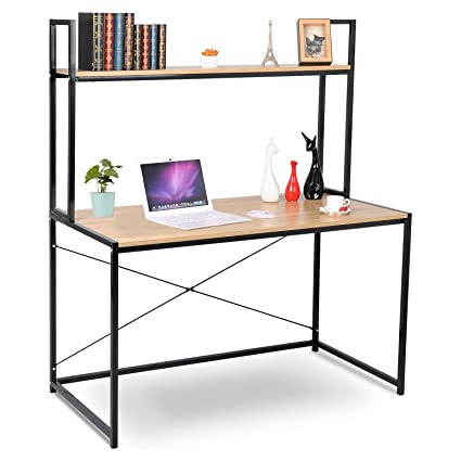 WOLTU Computer Desk Bookshelves Compact Home Notebook Large Wood And Metal Sturdy Waokstation Table Woodlook