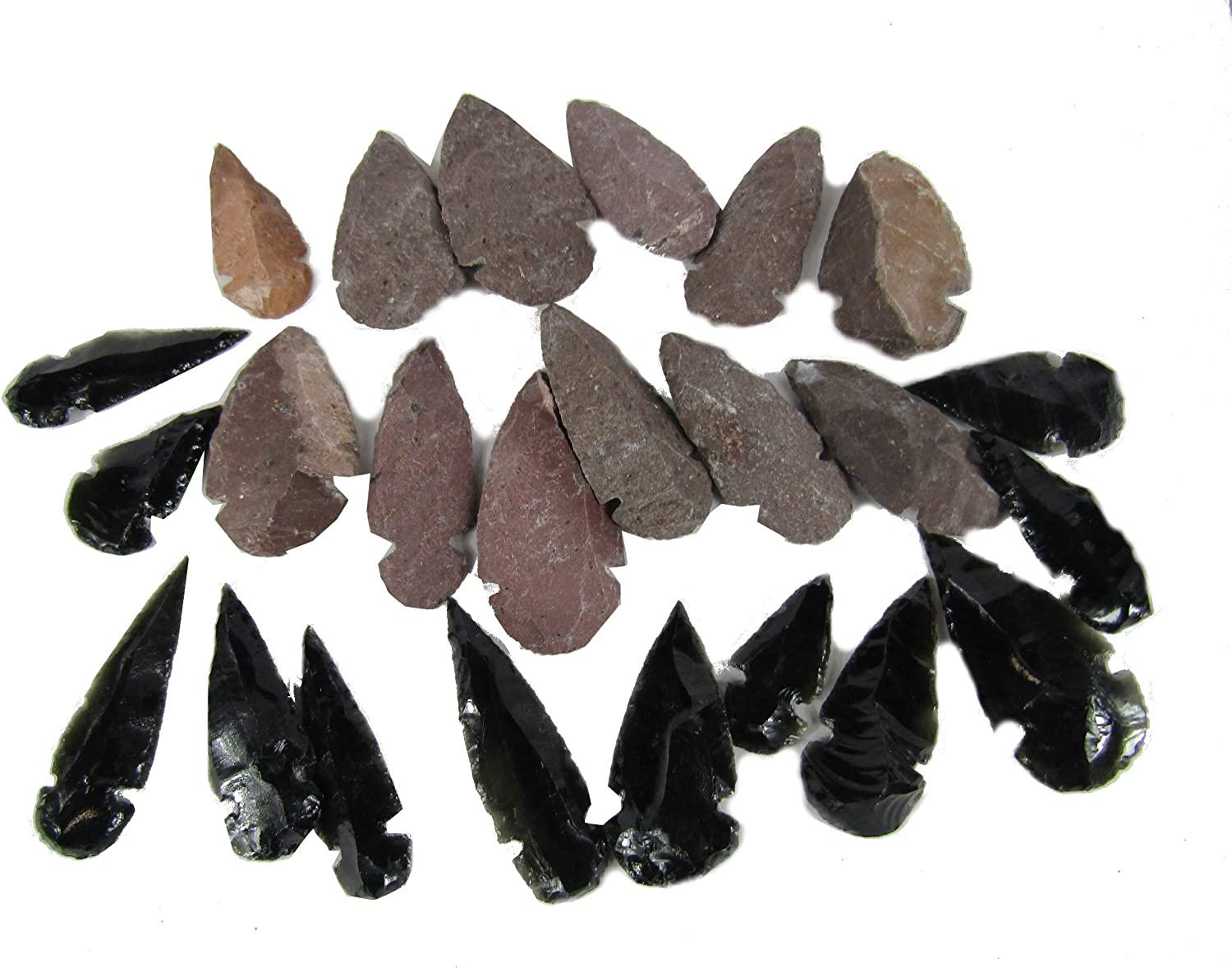 100 Pack 1 inch to 2 inches Stone Arrowheads 12 Pack