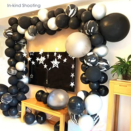 80th Birthday  2 6 12 Pack Table Balloon Decoration Display Kit Silver//Black