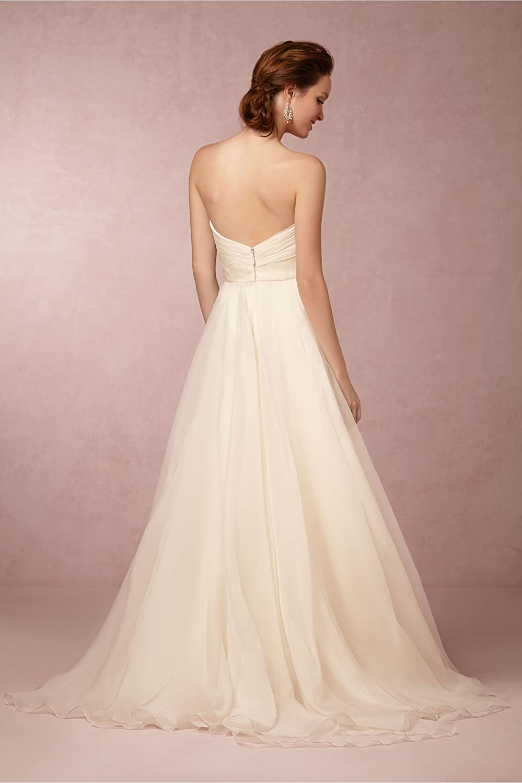 OYISHA Womens Sweetheart Organza Sweep Train Wedding Dress for Bride WD020